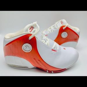 AND1 UPRISE MID Red and White size 9.5 shoes.